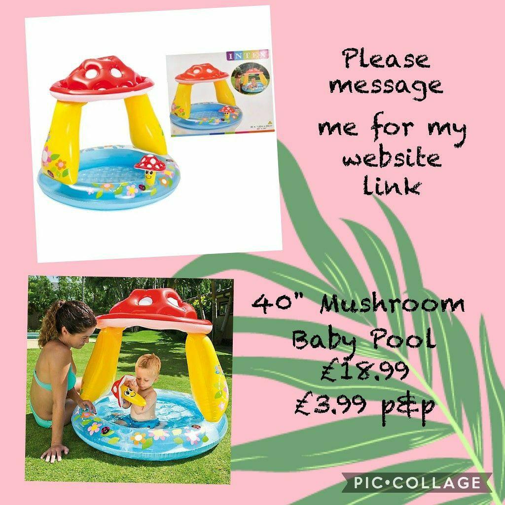 """☀️40"""" Mushroom Baby Pool 💥£18.99🚛 Postage is £3.99"""