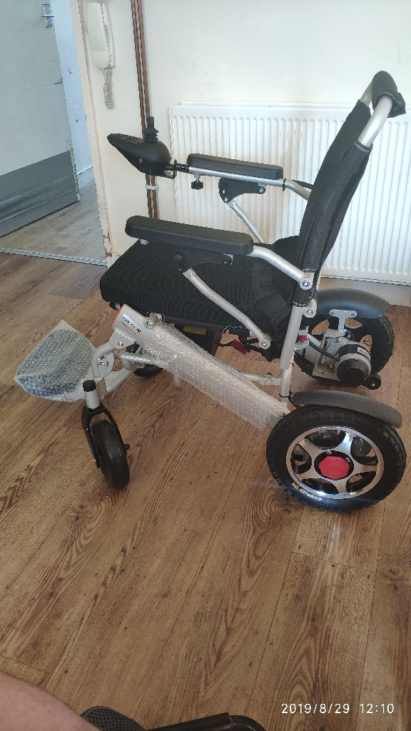 Lightweight folding lithium wheelchair with remote control, UK stock