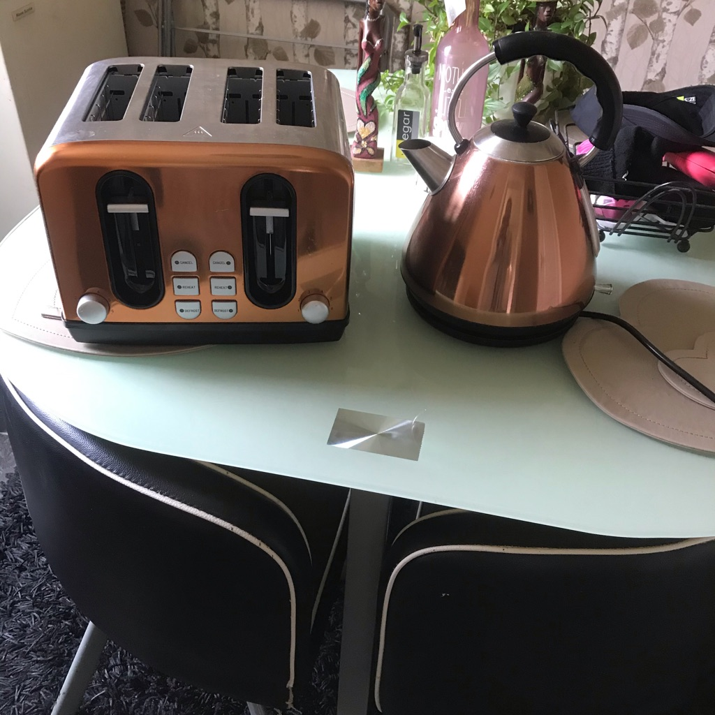 Rose gold kettle and toaster