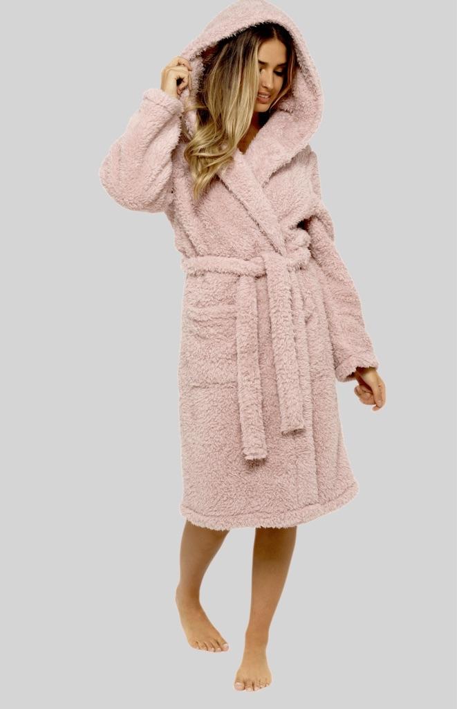 Dusky Pink Teddy Fleece Hooded Robe Dressing Gown