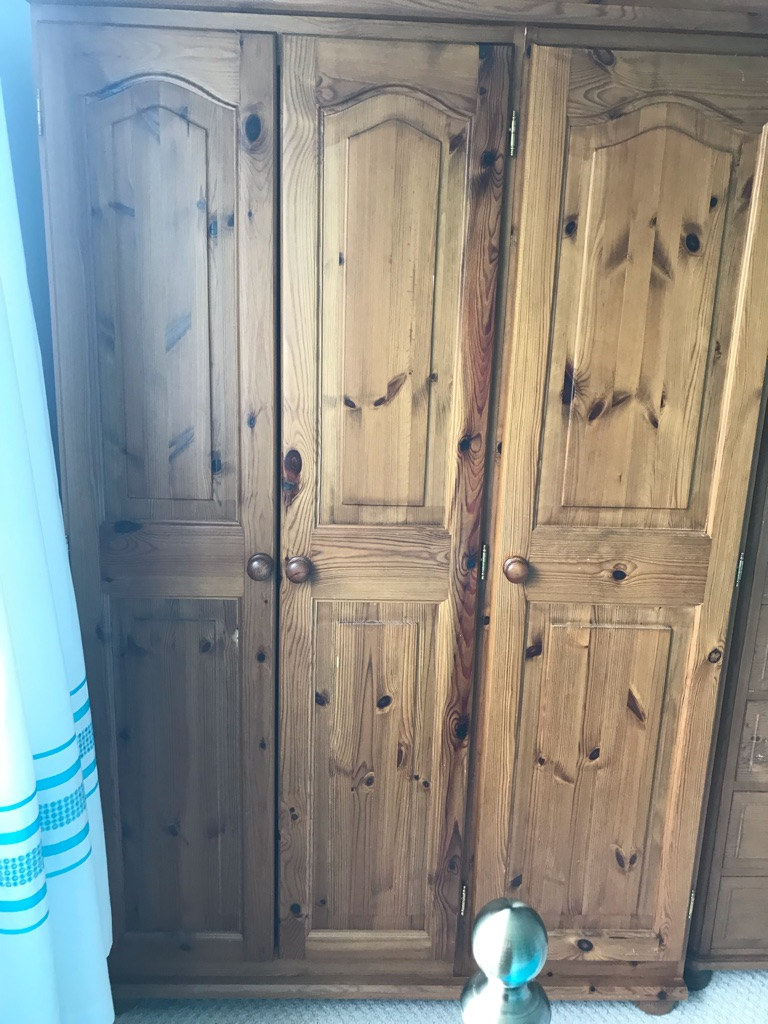 Reduced for sale!!!  3 door pine wardrobe immaculate condition