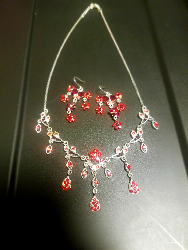Red crystal flower statement necklace