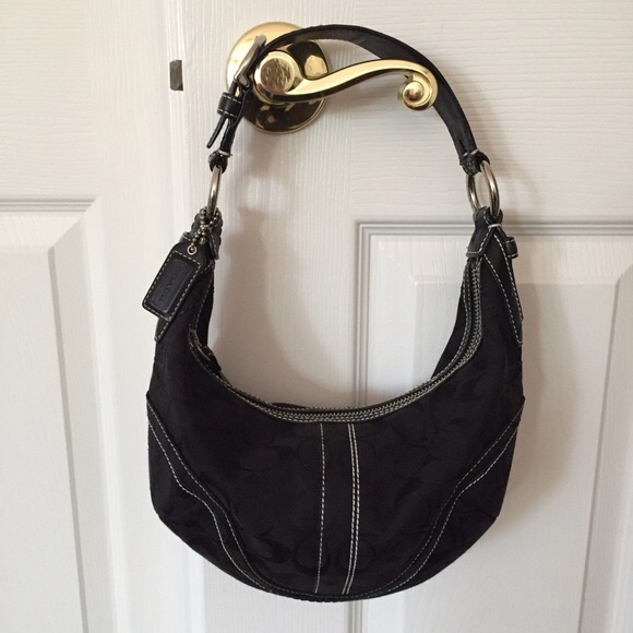 Coach Small Black Signature Hobo bag
