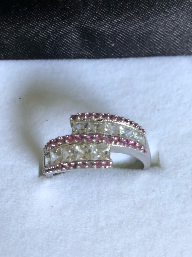 Silver hallmarks ring pink and clear stones