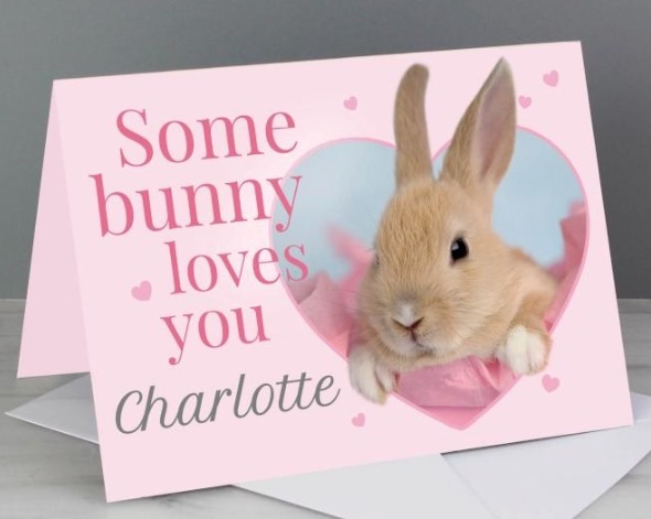 Personalised 'some bunny' greeting card