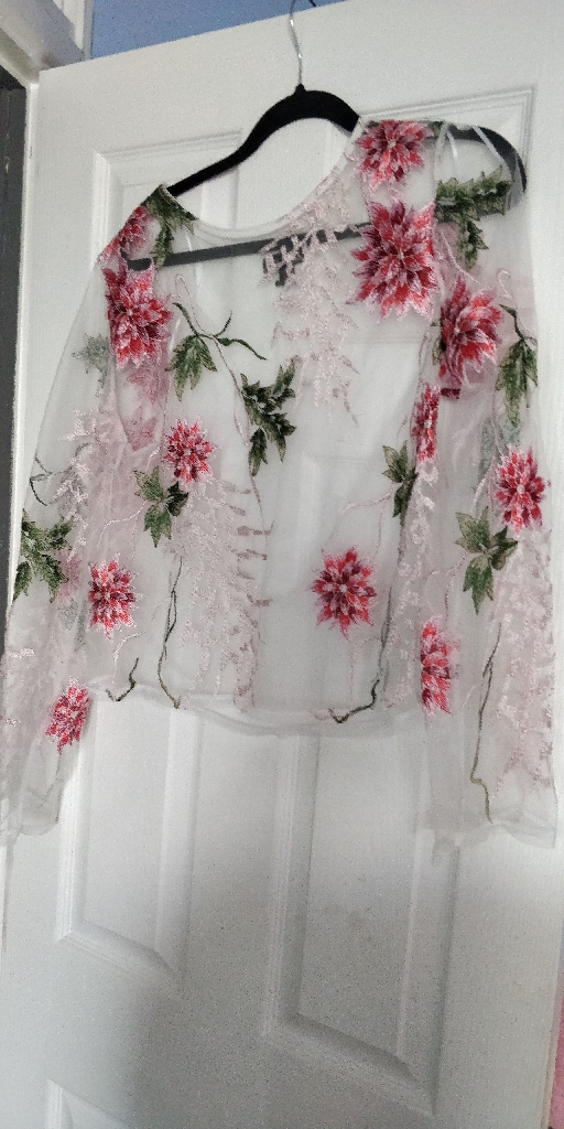 Pink/white top size 10/12 £5 pink trousers size 10/12 £8 brand new white jeans 10 £10 shirt dress £5