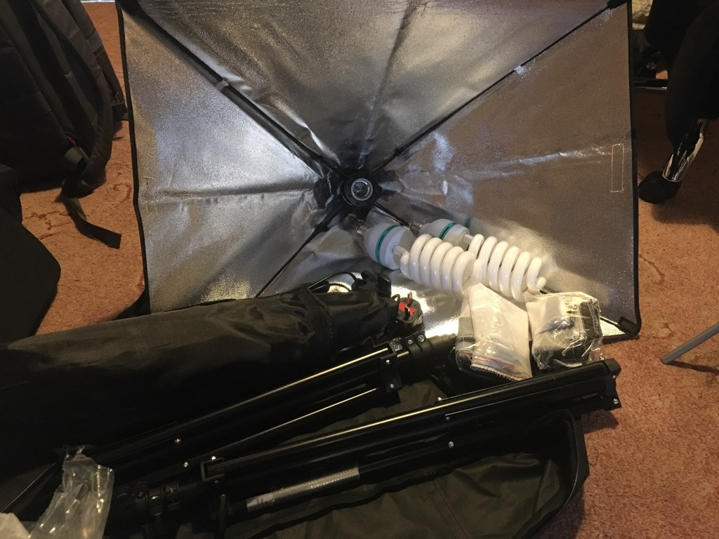 Photography lights with backdrop stands and sheets