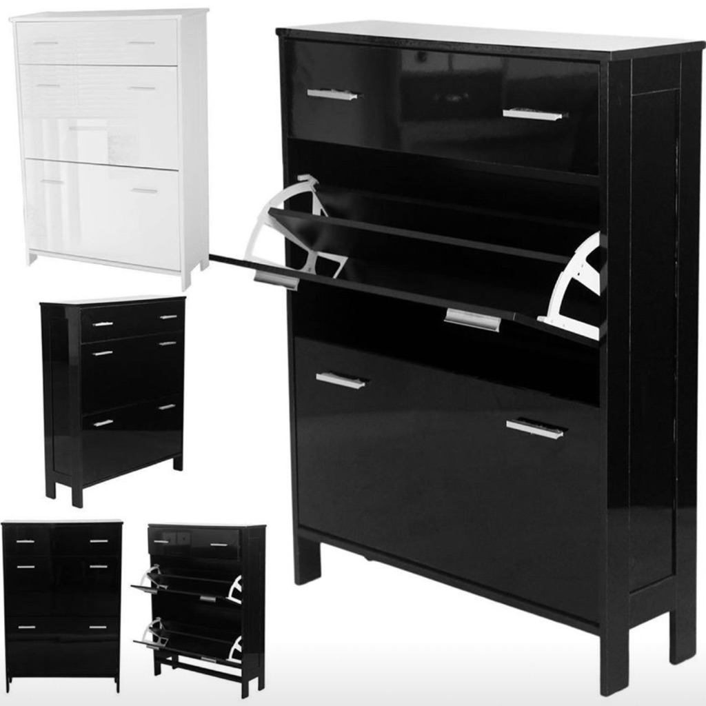 High gloss 3 drawer shoe cabinet