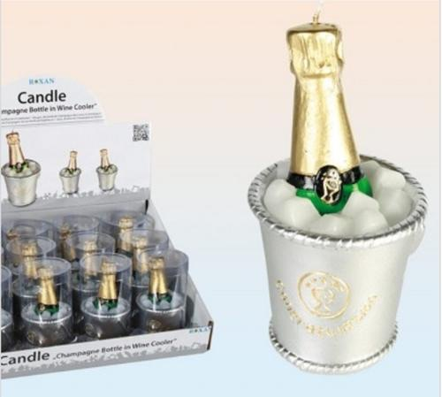 Champagne bottle in wine cooler candle