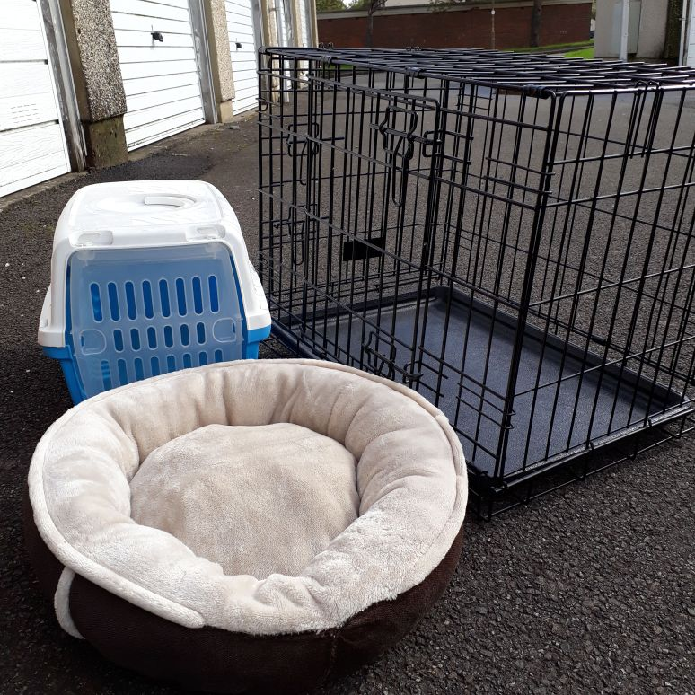 Puppy crate, bed and carrier