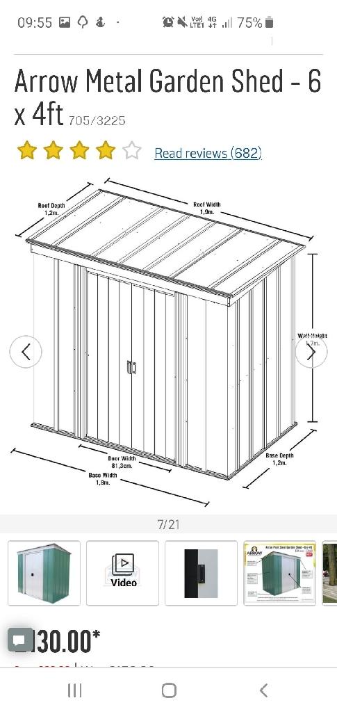 6 x 4 metal shed