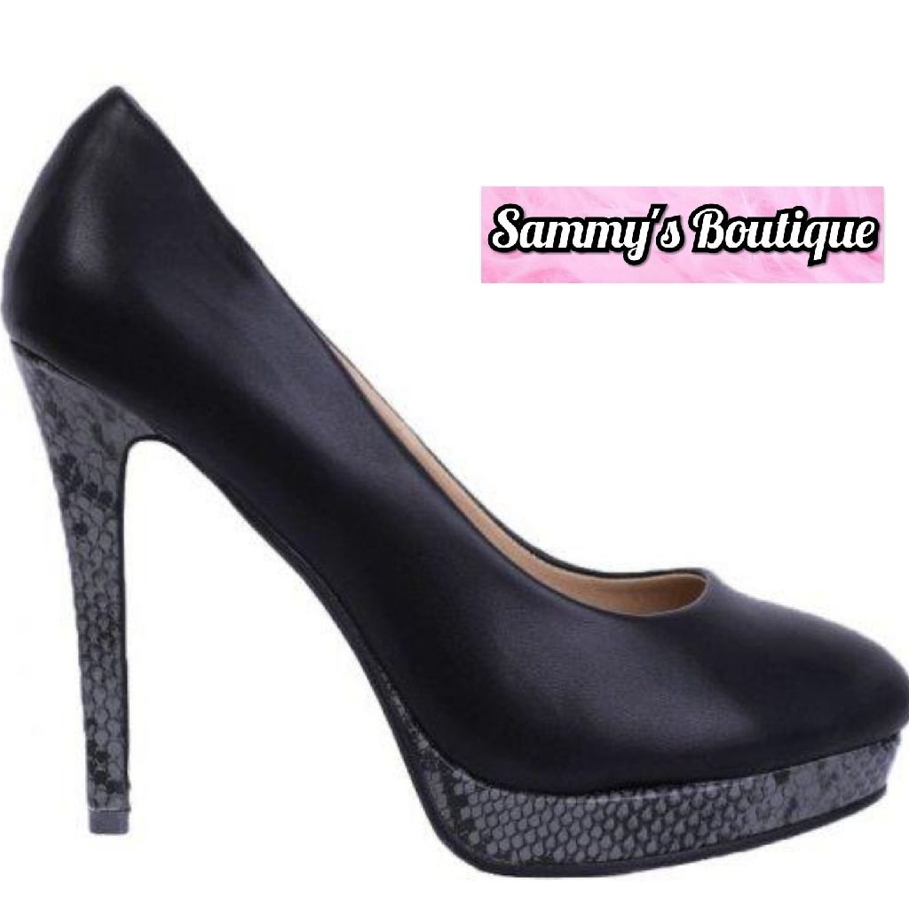 Python Stiletto Heels In Black