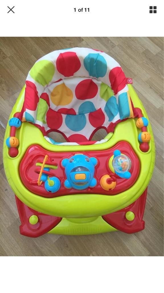 Red Kite Spots Baby Go Round Musical Twist Adjustable Walker Rocker Activity Toy