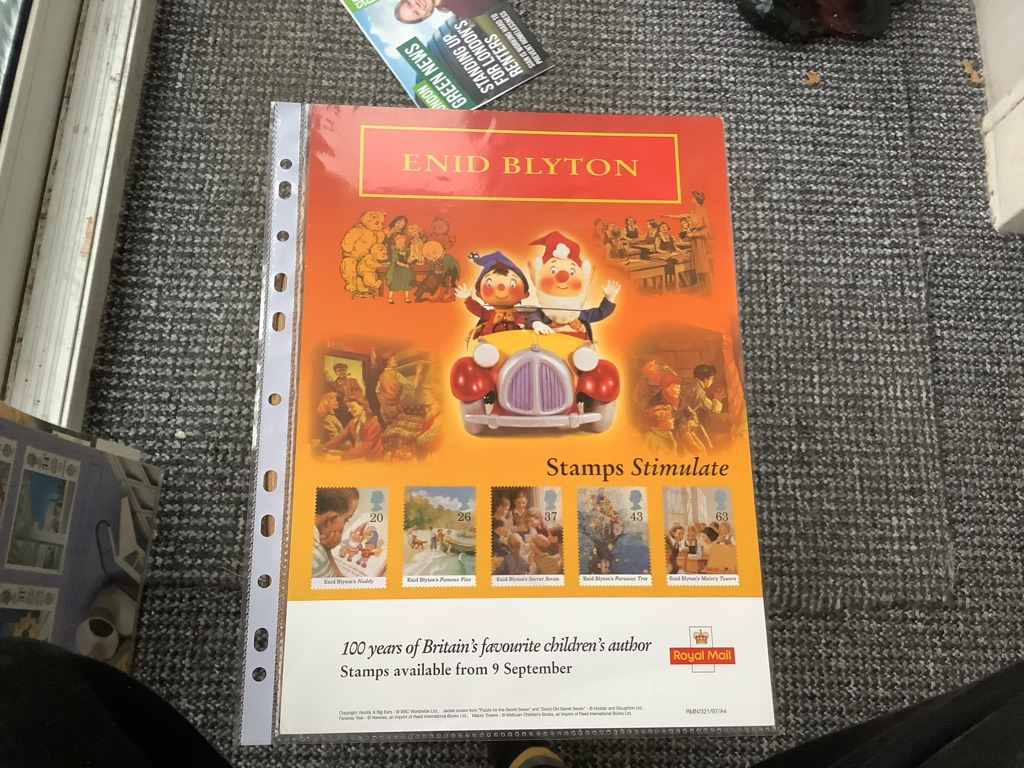 Post office special stamps Enid blyton  9 September 1997 A4 poster EX C