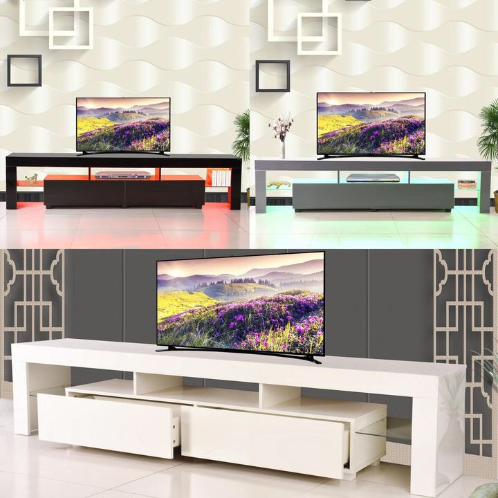 200cm High Gloss Front LED TV Stand Cabinet Unit 2 Drawers