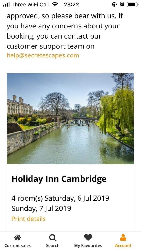All inclusive double room Cambridge Holiday Inn