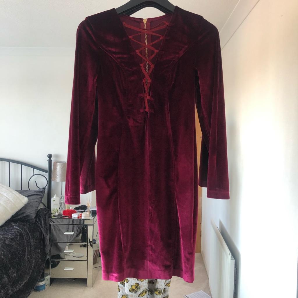Velvet Bodycon Lace Up Dress