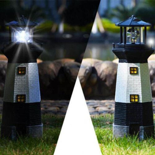 SOLAR POWER LIGHTHOUSE ROTATING LED GARDEN LIGHT