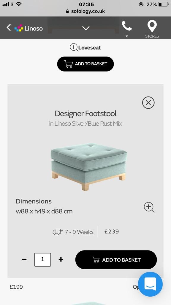 Designer Footstool from Sofology in Duck Egg Blue