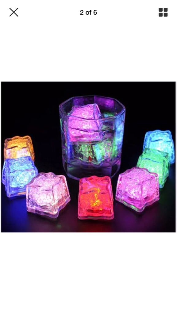 1 box of 12 LED Flashing Ice Cubes