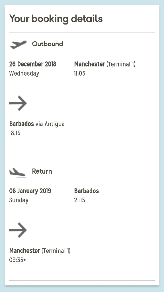 Return Thomas Cook flight to Barbados from MCR Airport 26/12/18