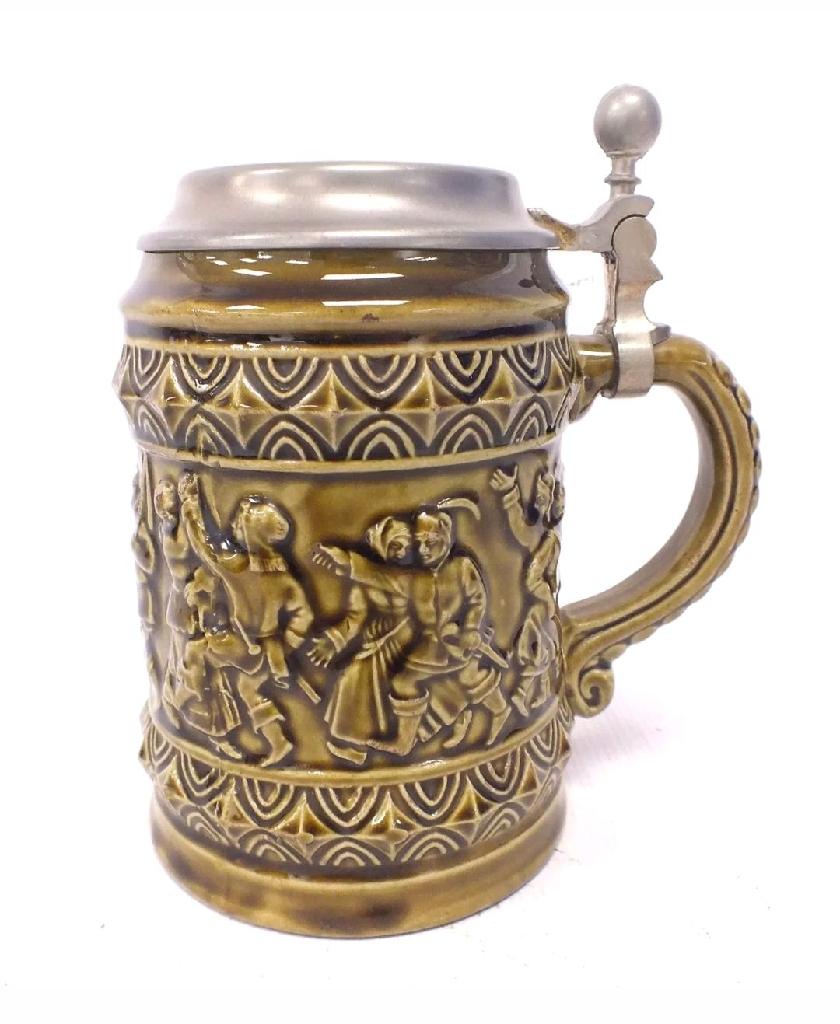 MARZI Und REMY Vintage Ceramic TANKARD With Pewter Lid