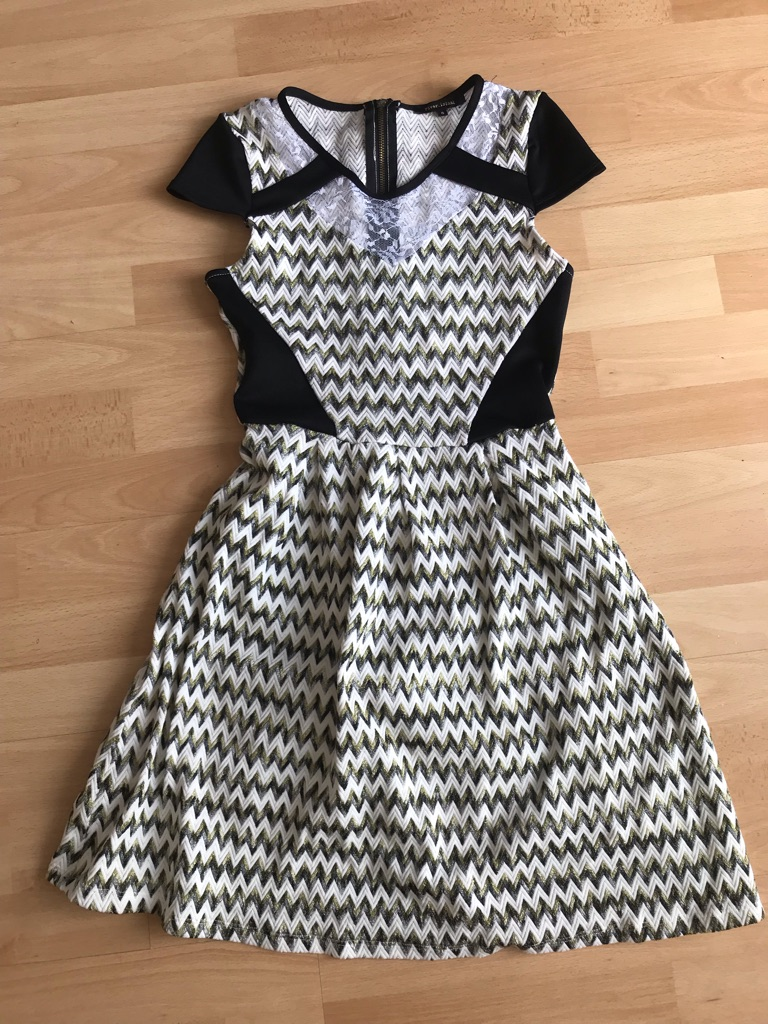 River island Zig zag skater style dress with lace