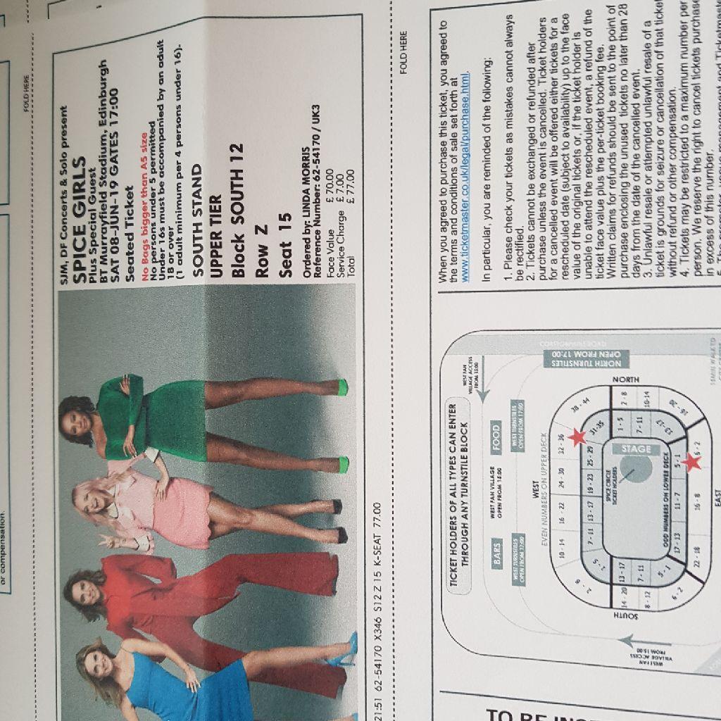 Spice Girl Tickets x 2