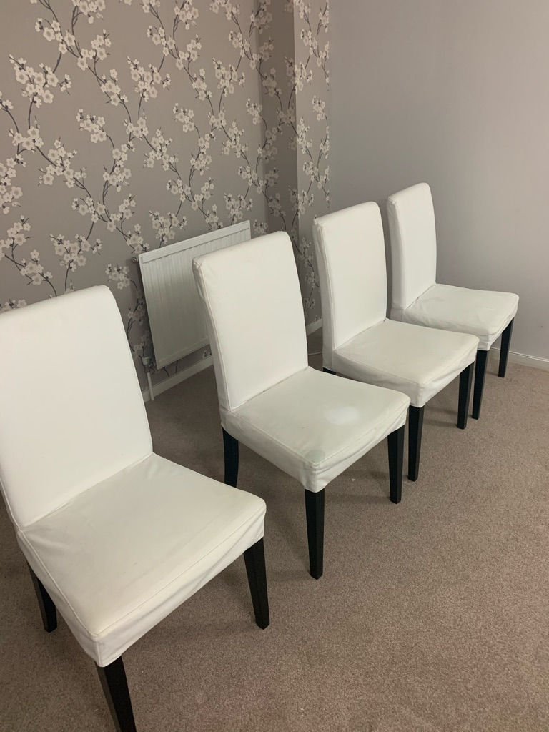 Set of 4 Henriksdal Dining chairs Solid OAK Wooden Legs Mint Condition