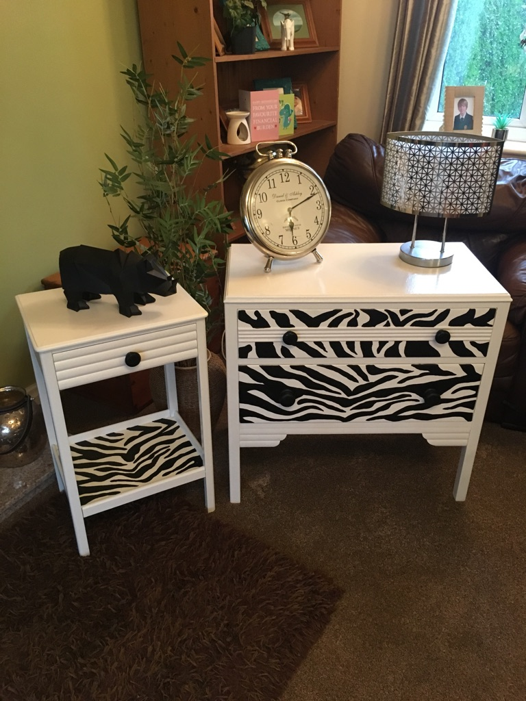 Zebra print drawers and bedside table