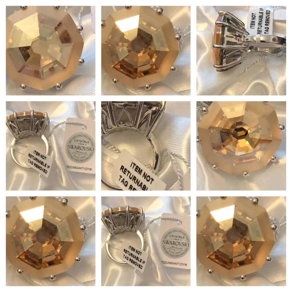 Swarovski Crystal rings sterling silver 925 platinum overlay new