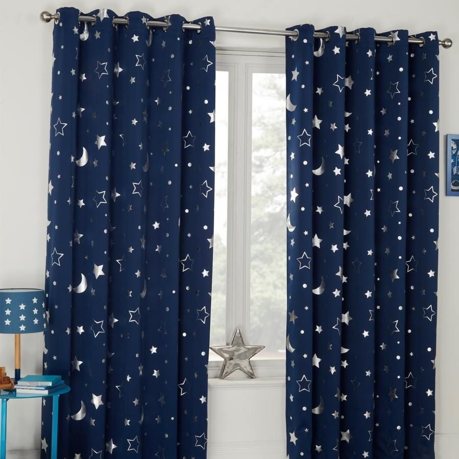 DREAMSCENE STAR BLACKOUT GALAXY KIDS CURTAINS - NAVY BLUE Or SILVER GREY