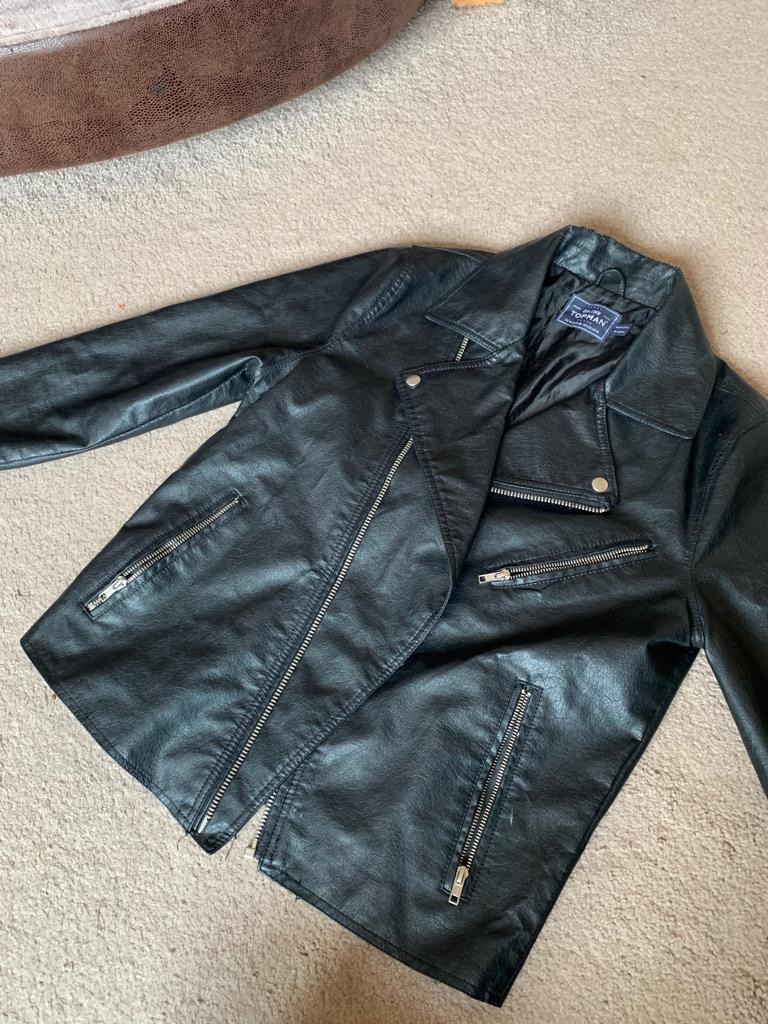 Topman Black Faux Leather Jacket, M