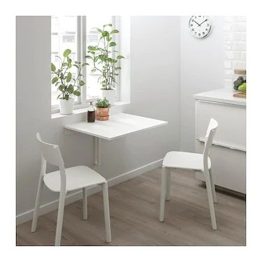 Wall-mounted drop-leaf table White