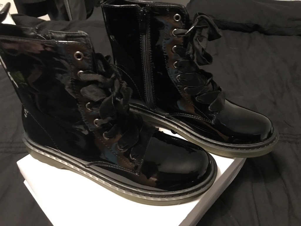 Black patent boots with velvet laces