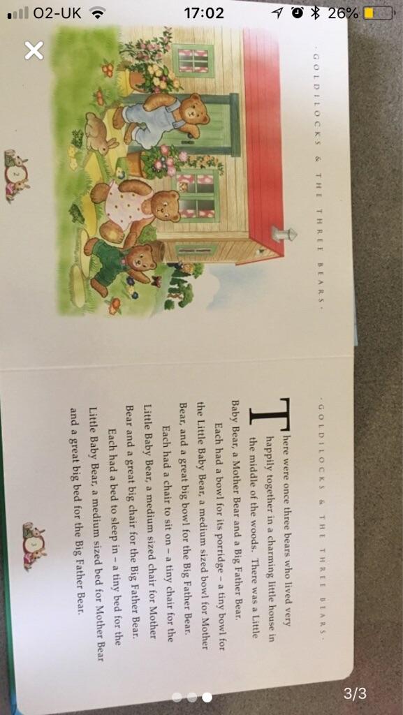 Goldilocks and the three bears children's book.
