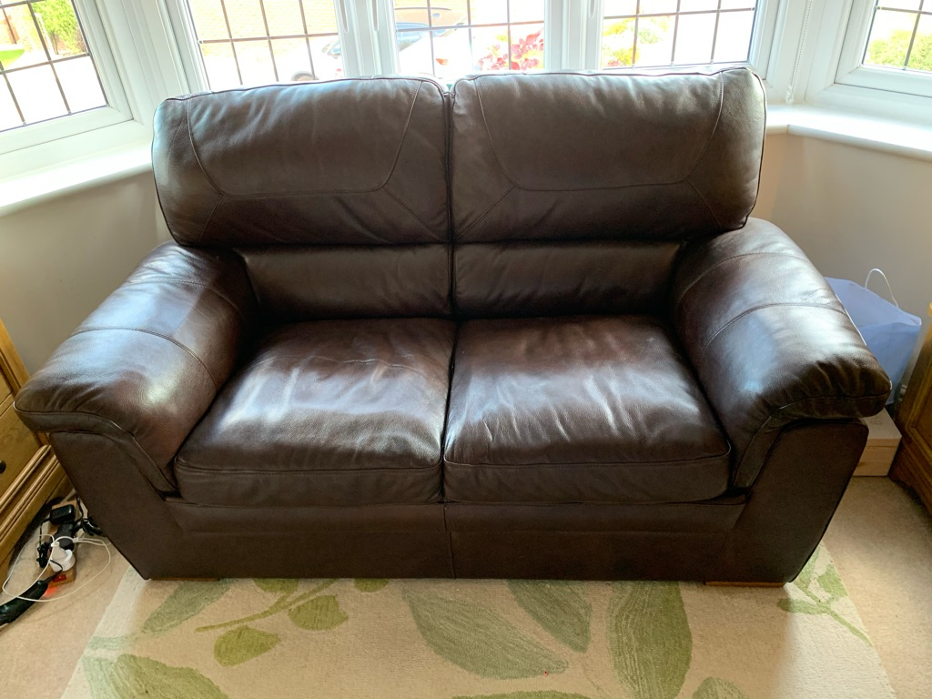 Two brown leather sofas - 2 seater