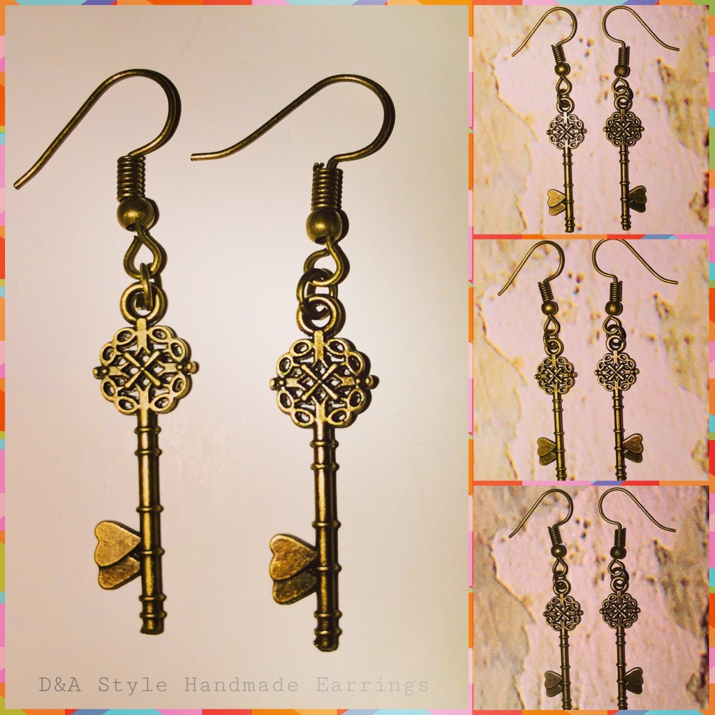 Handmade Lovely Antique Key Earrings
