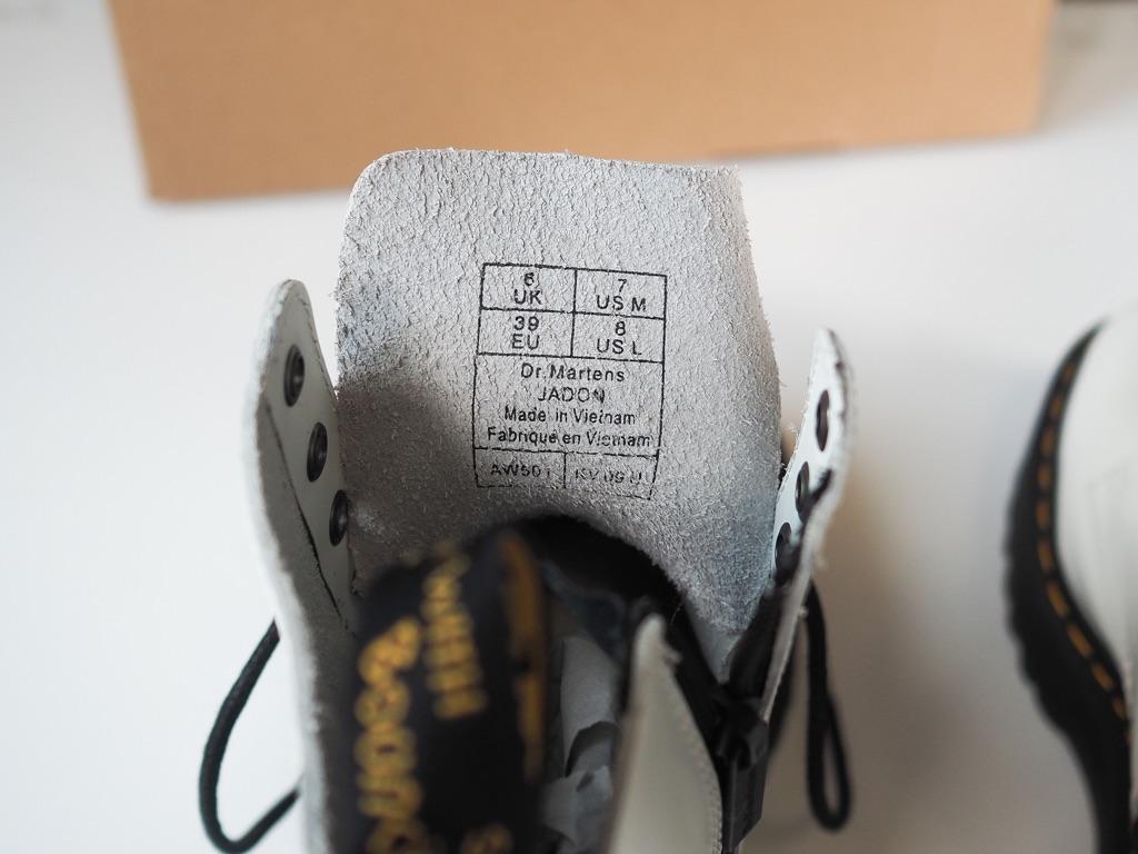 Dr Martens Jadon Platform Boots In White Leather UK6