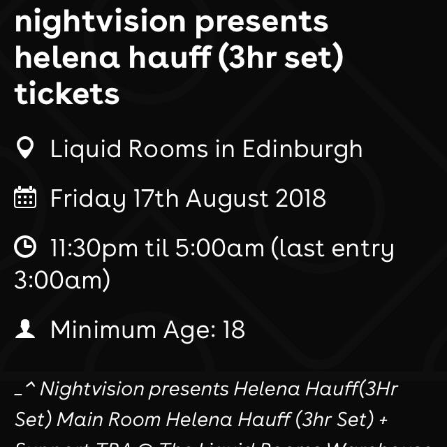 Helena Hauff, 3h set, tickets