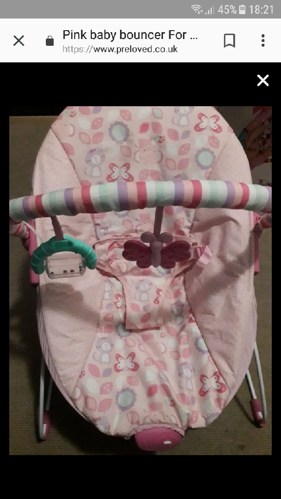 Pink girls baby bouncer