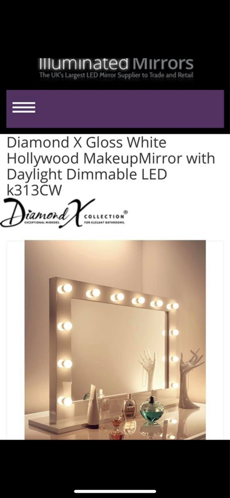 Diamond X Gloss White Hollywood Makeup Mirror with Daylight Dimmable LED Lights ✨