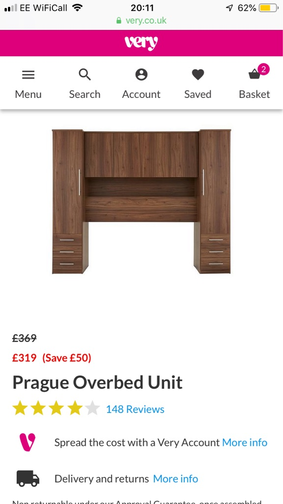 Prague overbed unit with wardrobes