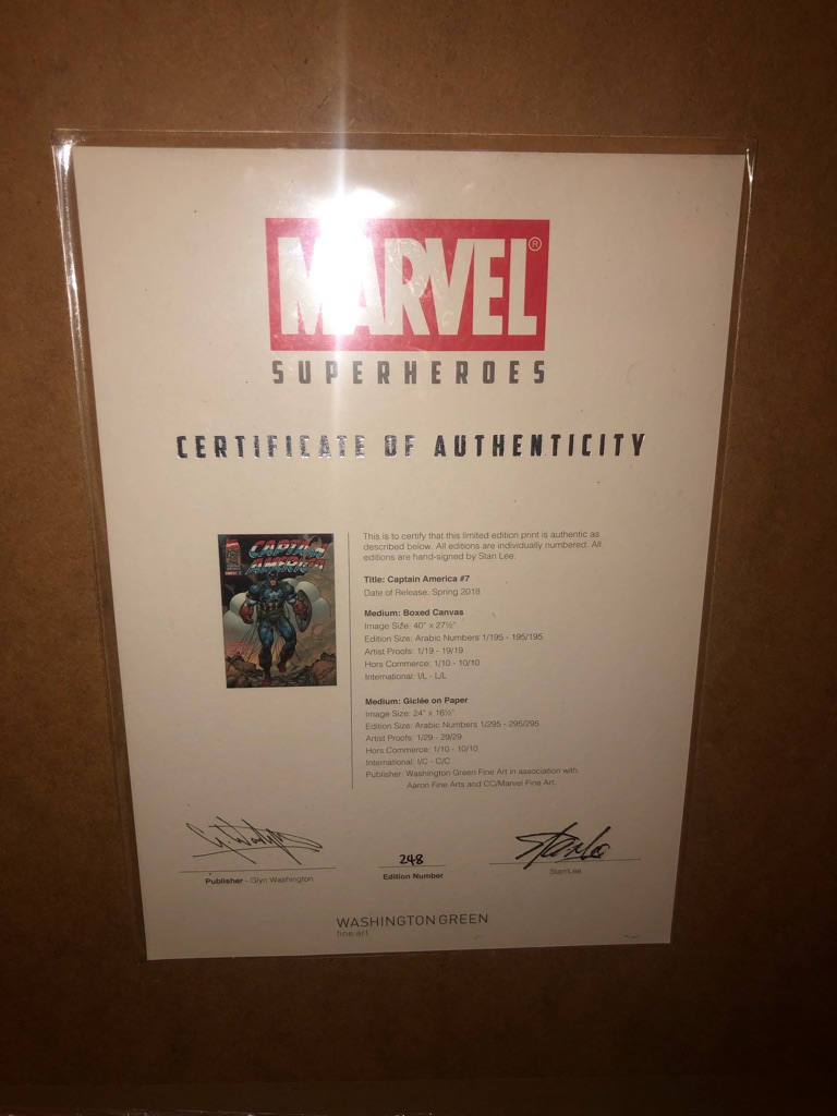 Captain Marvel Framed Signed by Stan Lee Comic Artwork