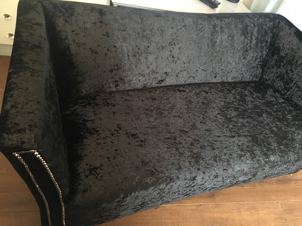 Black crushed velvet sofa