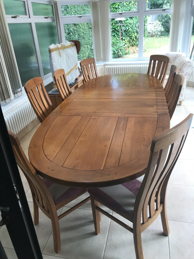 French Oak table and 8 French Oak chairs
