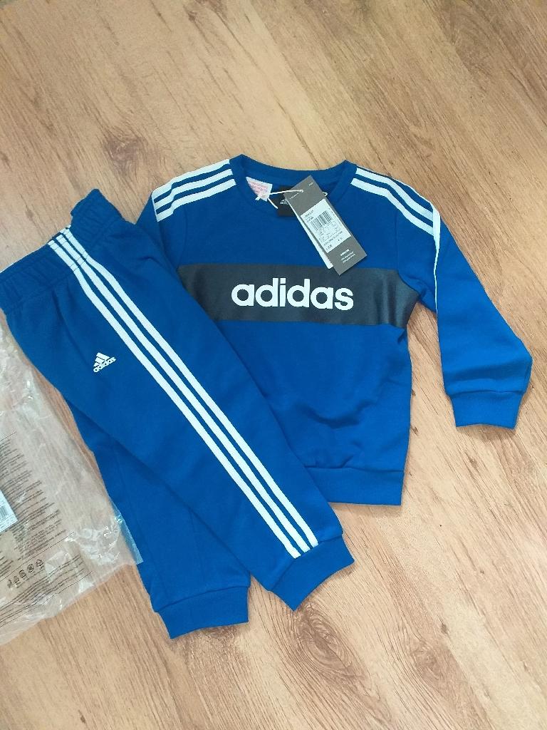 adidas boys blue/white  infant / baby crew tracksuit 18-24 m. New. Original