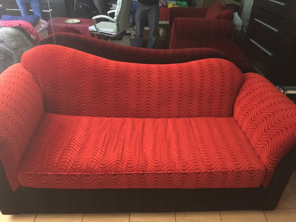 1+3 red fabric sofa with mattress