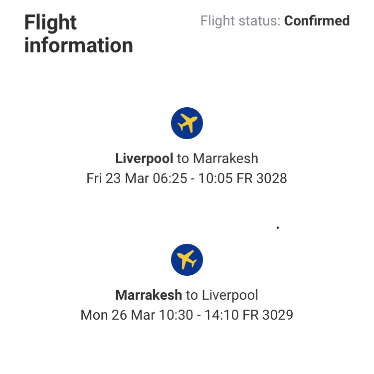 2 tickets to Marrakesh from Liverpool at 120£ RETURN