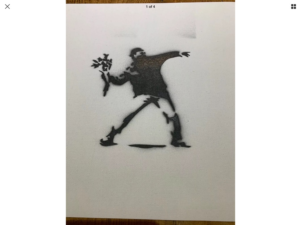 Spray art canvas banksy style